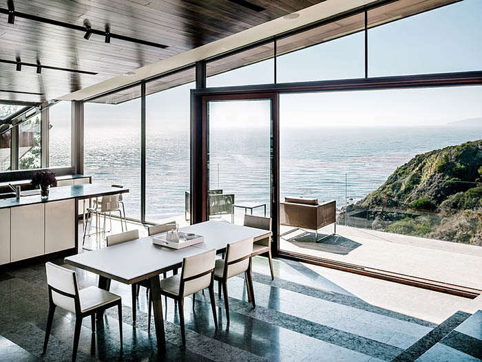 Contemporary-kitchen-and-dining-area-overlooking-the-Pacific-Ocean