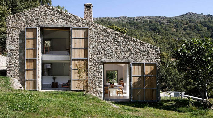 Stone-exterior-of-the-renovated-rustic-house
