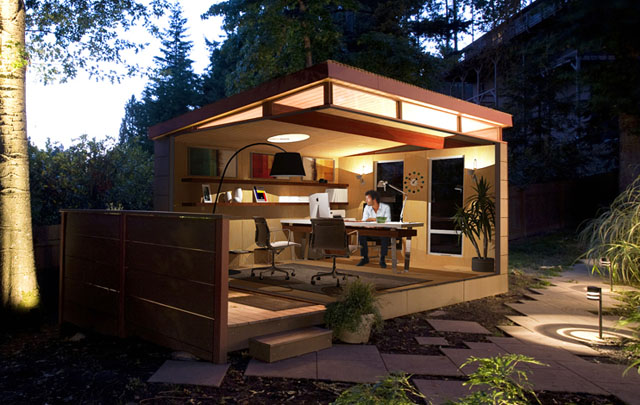 10 shedquarters bring the home office to your backyard for Shed office interior