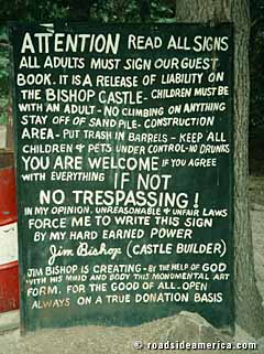 One of the entrance signs to Bishop Castle with Jim's terms and conditions to visitors.