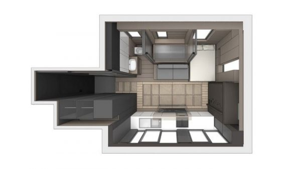 """The floor plans for LAAB's design for Andy and Michelle using the """"Form Follows Time"""" philosophy."""